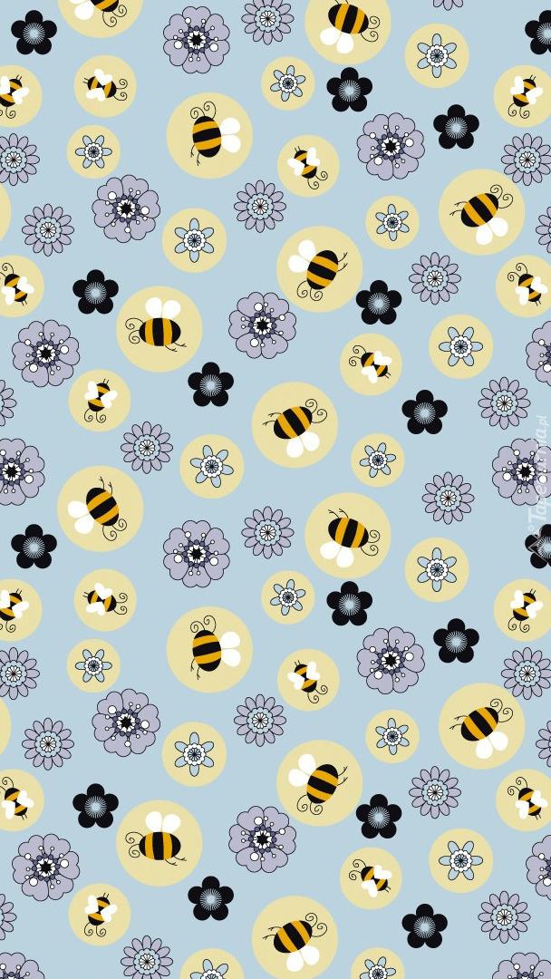 Tekstura w pszczoły i kwiaty