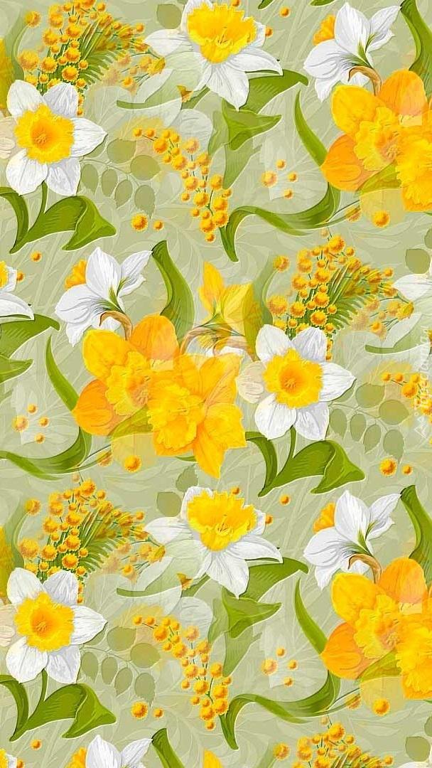 Tekstura z kwiatami narcyza