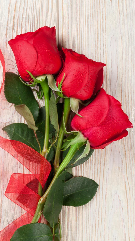 Trzy czerwone róże ze wstążką