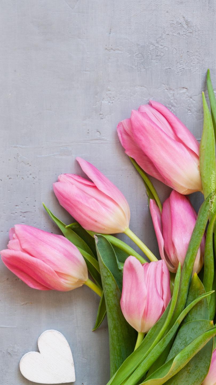 Tulipany i białe serduszko