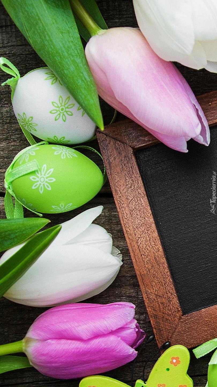 Tulipany i pisanki na ramce
