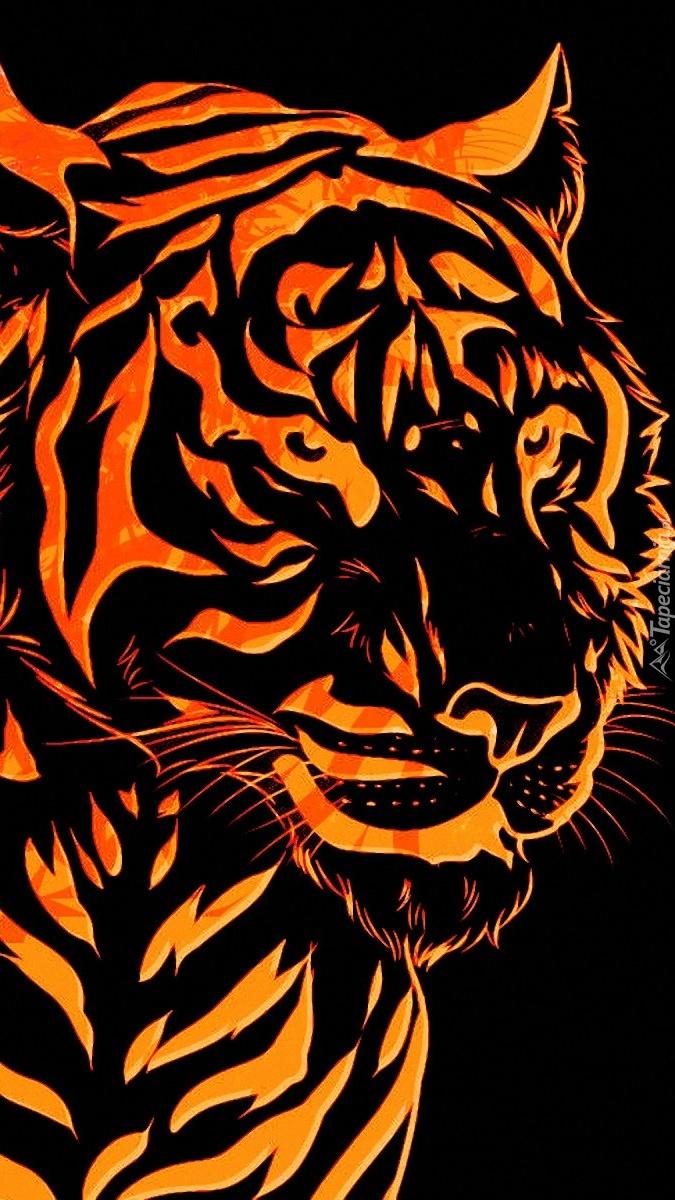 Tygrys w grafice na czarnym tle