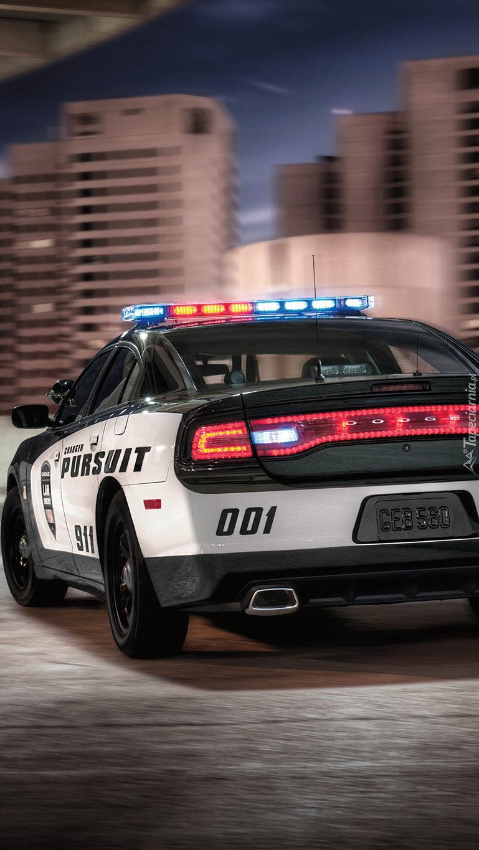 Tył samochodu policyjnego