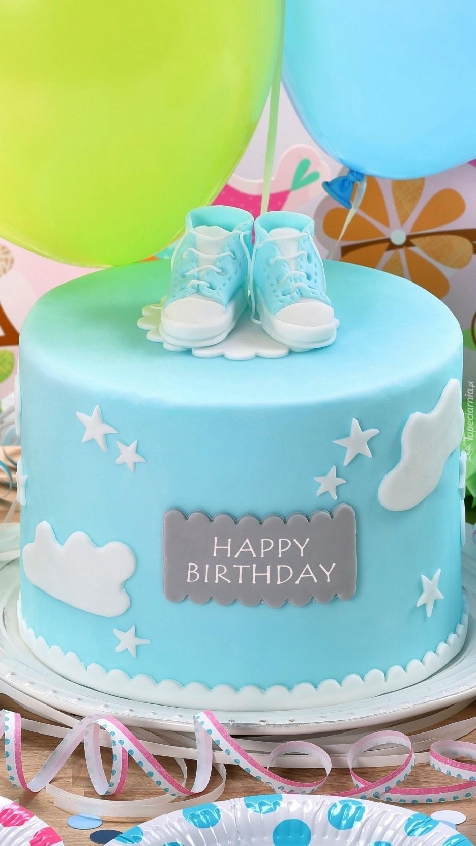 Urodzinowy torcik na niebiesko
