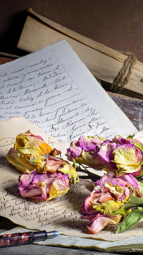 Uschnięte róże na listach