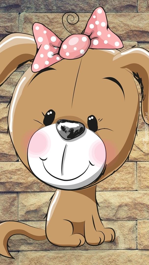 Uśmiechnięty pies z kokardą w grafice