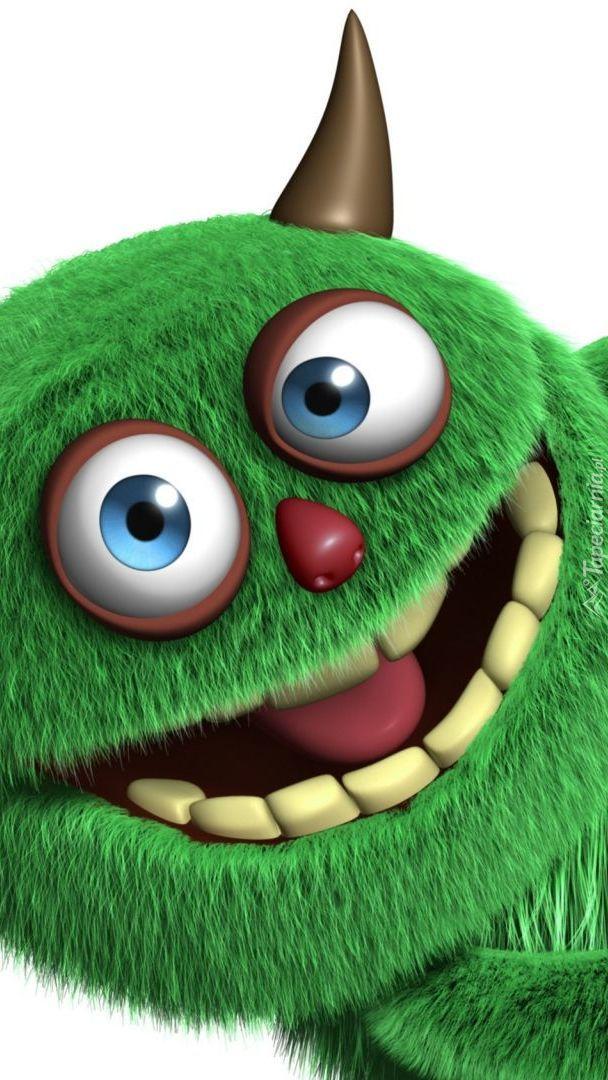 Uśmiechnięty zielony stworek  w grafice 3D