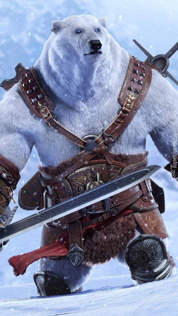 Uzbrojony biały niedźwiedź