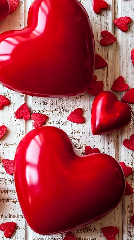 Walentynkowe serca na deskach