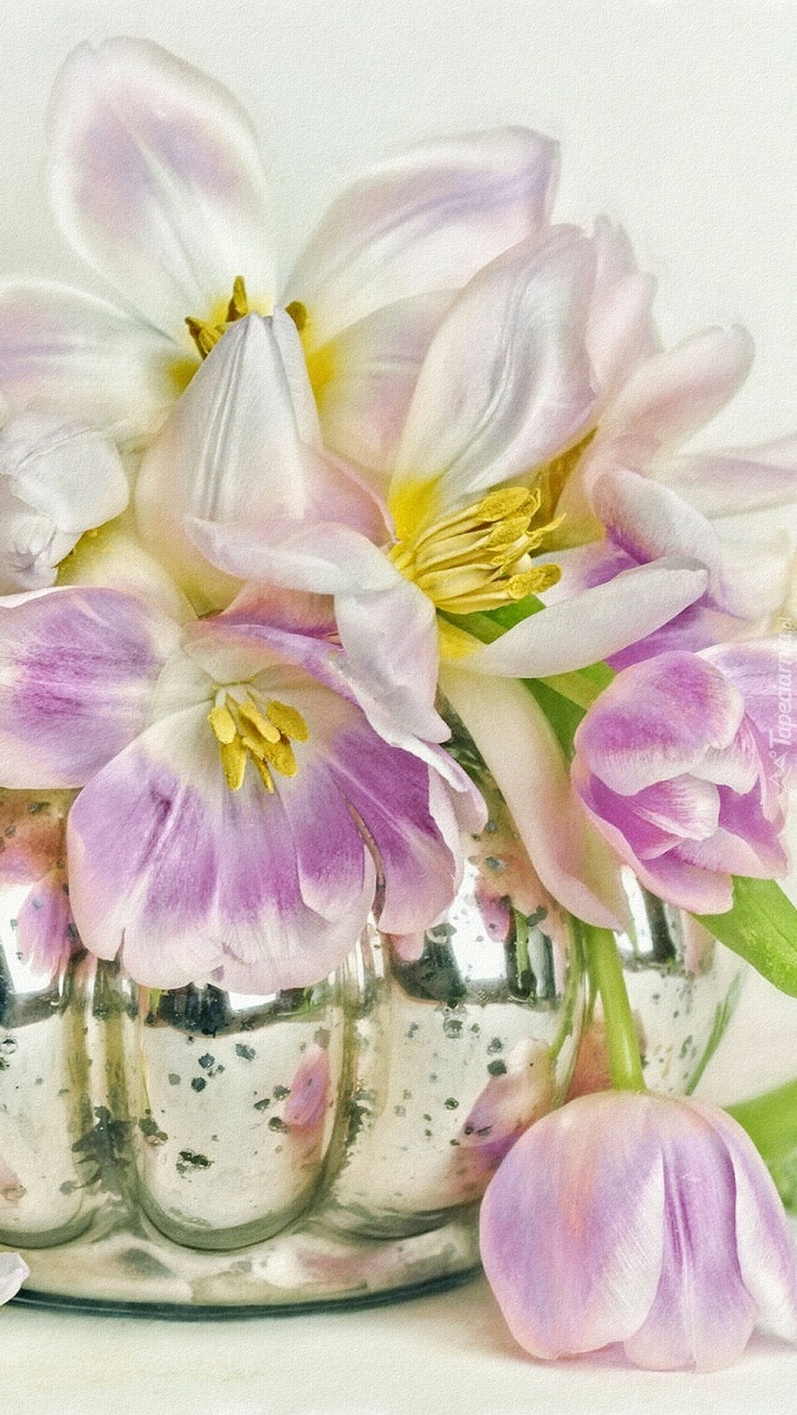 Wazon z rozwiniętymi tulipanami w grafice