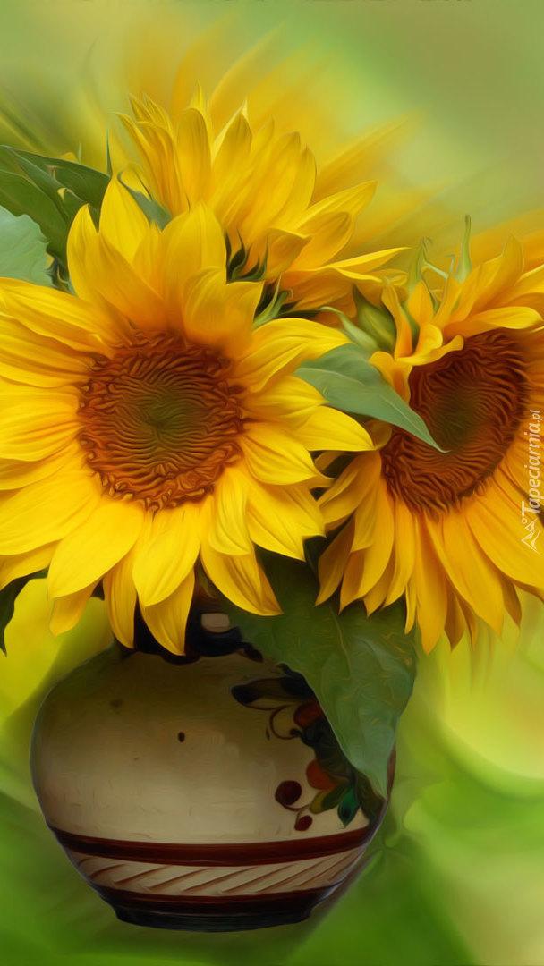 Wazon ze słonecznikami