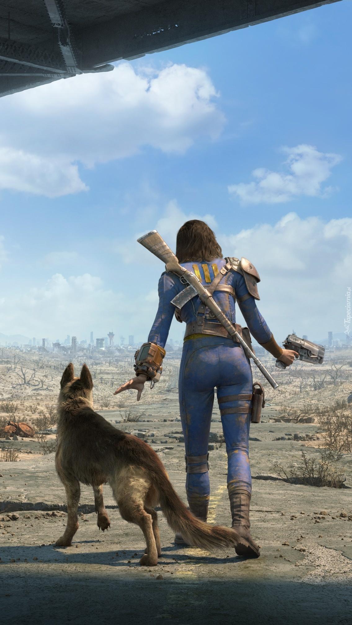 Wędrująca postać z psem i karabinem