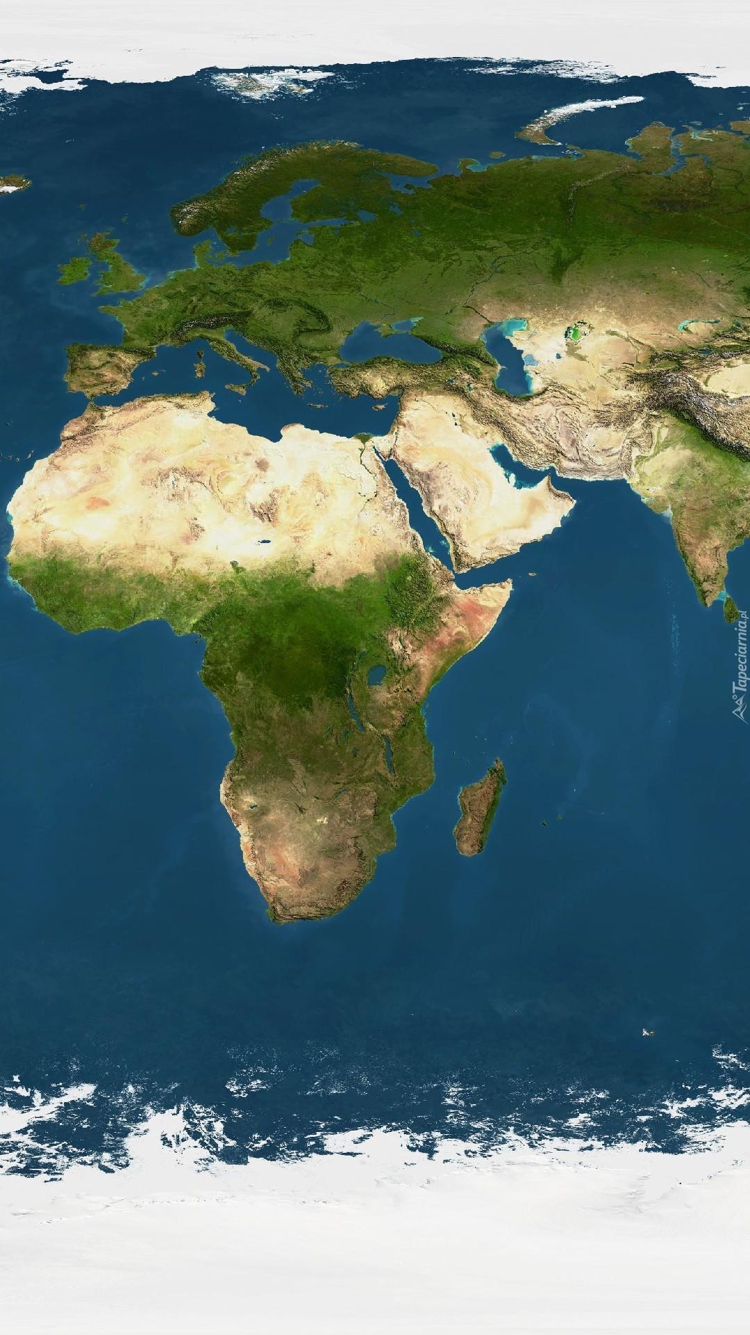 Widok na kontynent afrykański i europejski