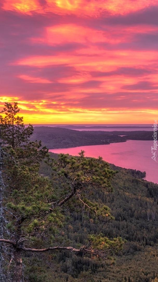 Widok na zatokę i zachód słońca
