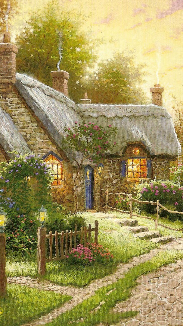 Wiejski dom na obrazie Thomasa Kinkade