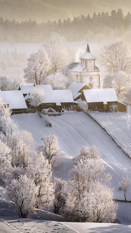 Wieś zasypana śniegiem