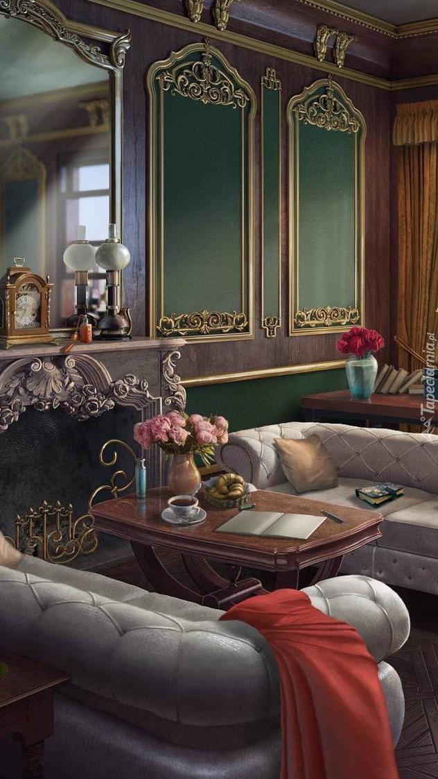 Wnętrze pokoju z lustrami