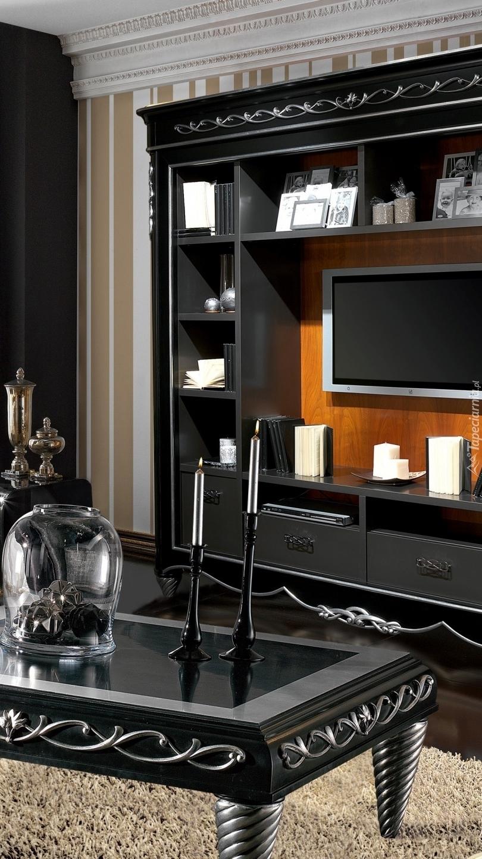 Wnętrze salonu w kolorach czerni