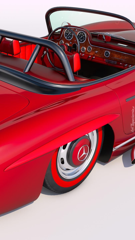Wnętrze zabytkowego czerwonego Mercedesa rocznik 1956