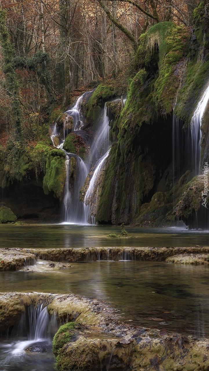 Wodospad Cascade des tufs w lesie