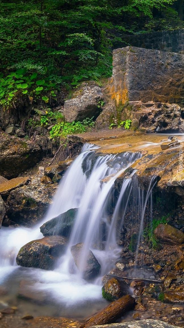 Wodospad na progu rzecznym w lesie