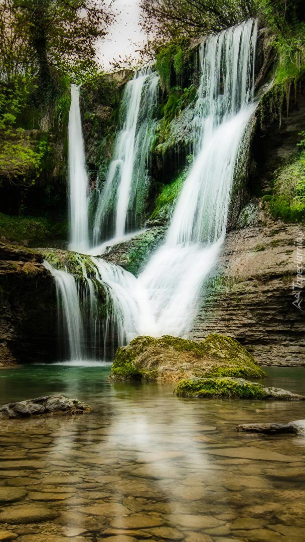 Wodospad na skale porośniętej roślinami