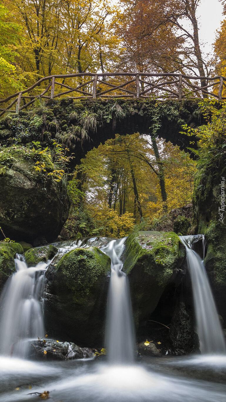 Wodospad Schiessentumpel w lesie