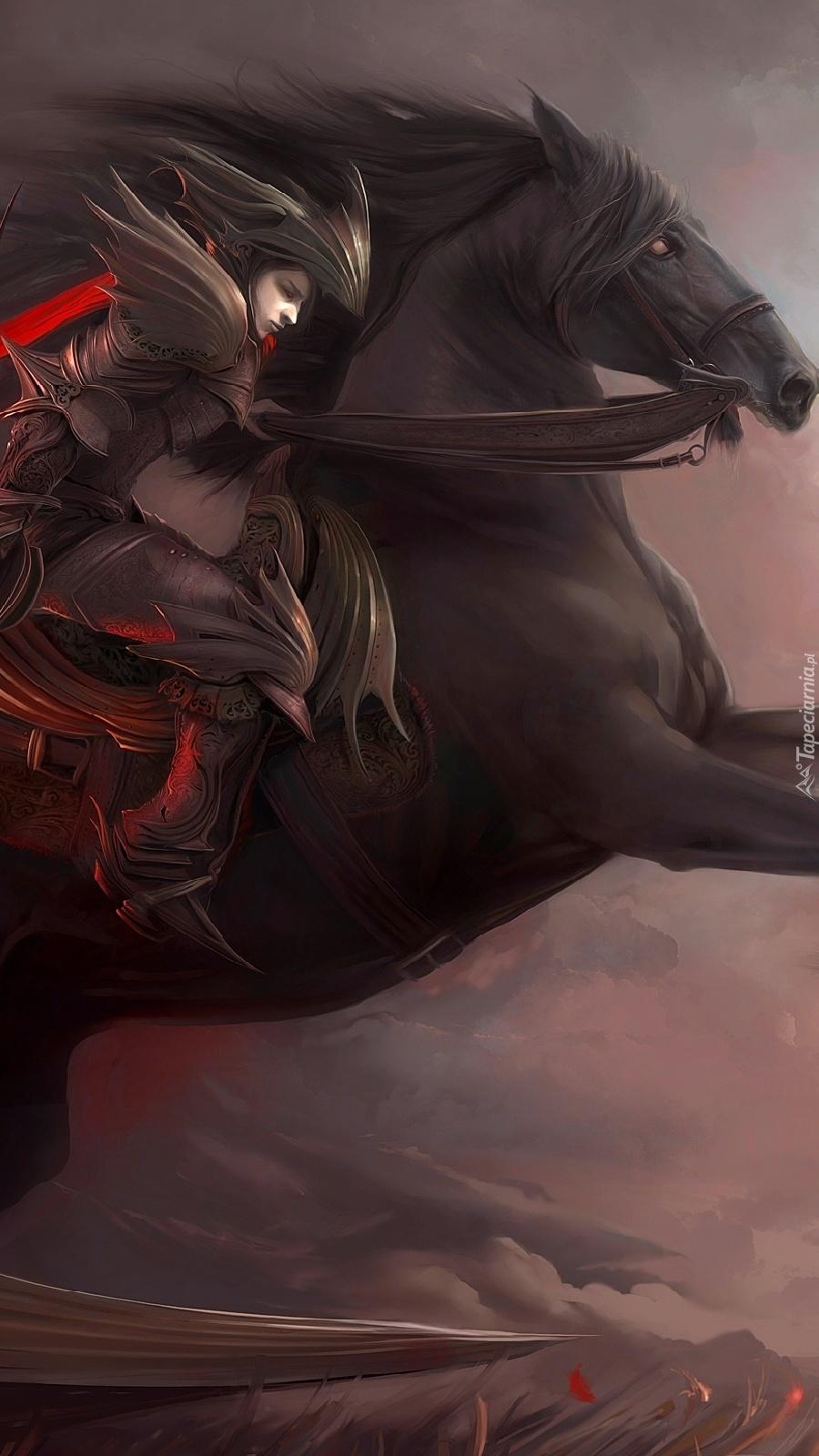 Wojowniczka pędząca na koniu