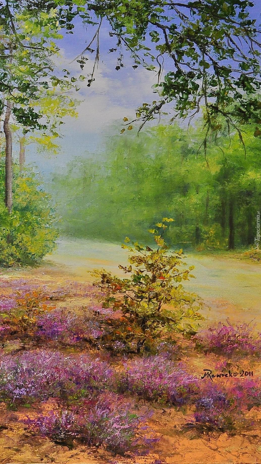 Wrzosy w lesie spod ręki malarza