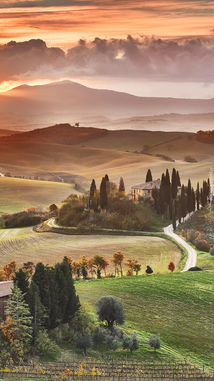 Wschód słońca nad wzgórzami Toskanii