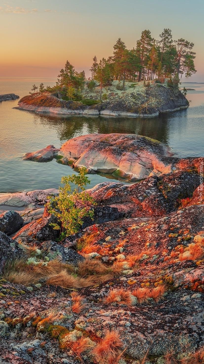 Wysepka i kolorowe skały na jeziorze Ładoga