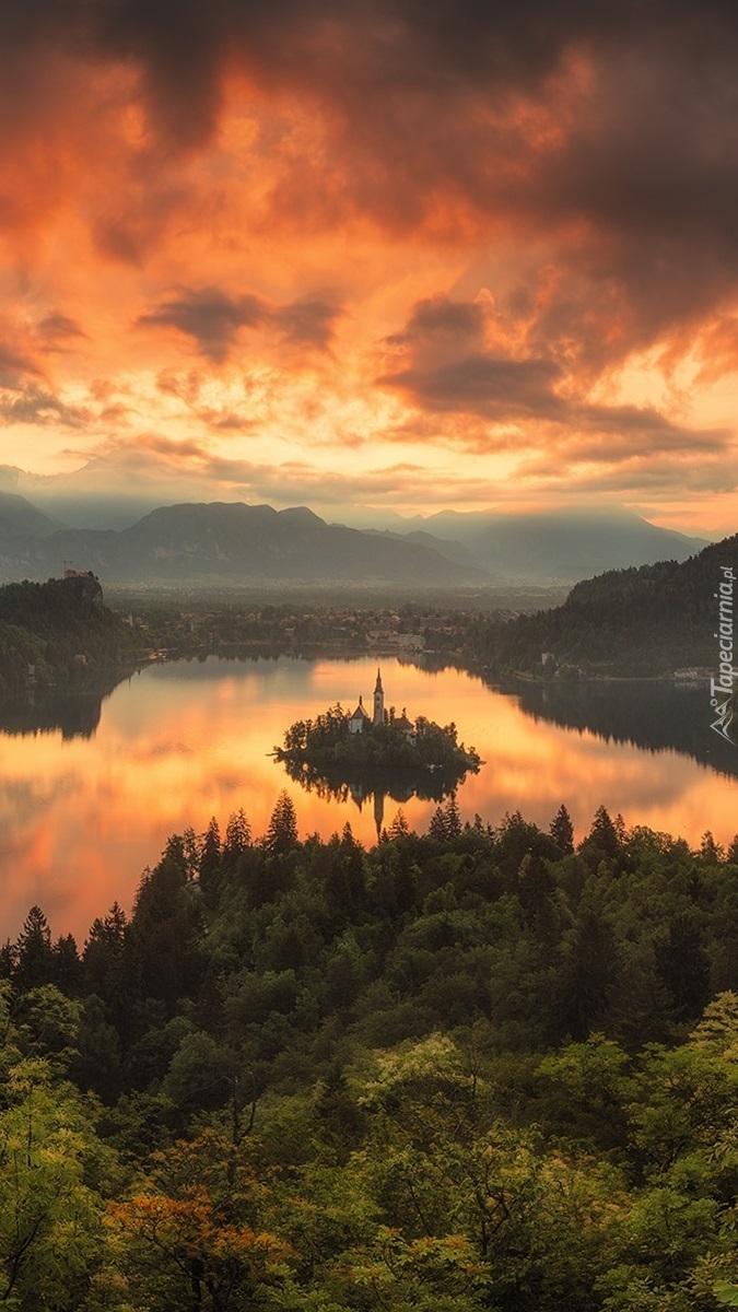 Wyspa na jeziorze Bled w Słowenii