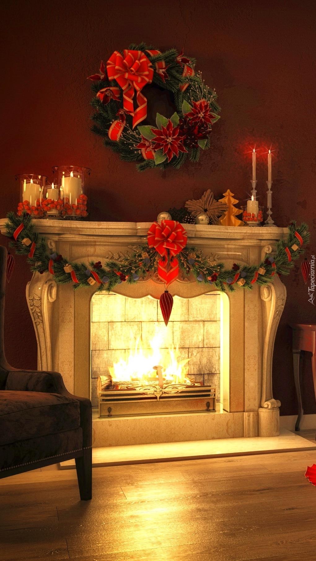 Wystrój świąteczny kominka