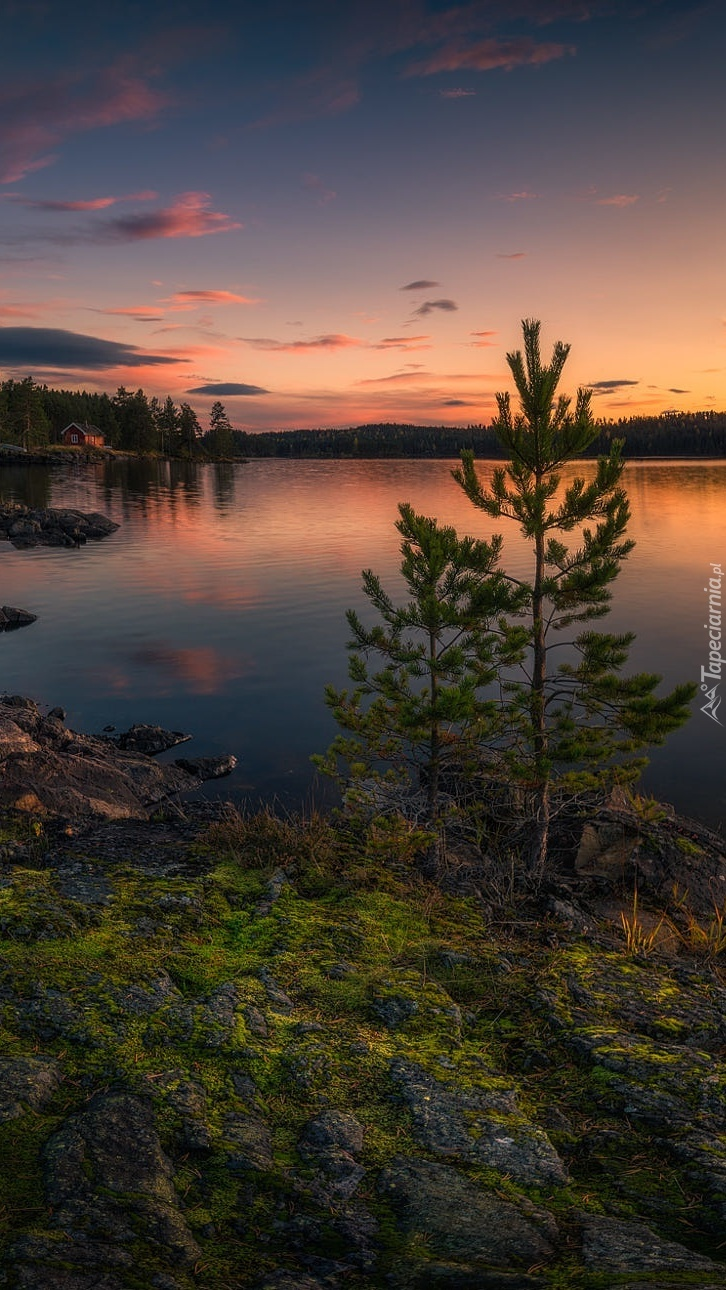 Zachód słońca nad norweskim jeziorem