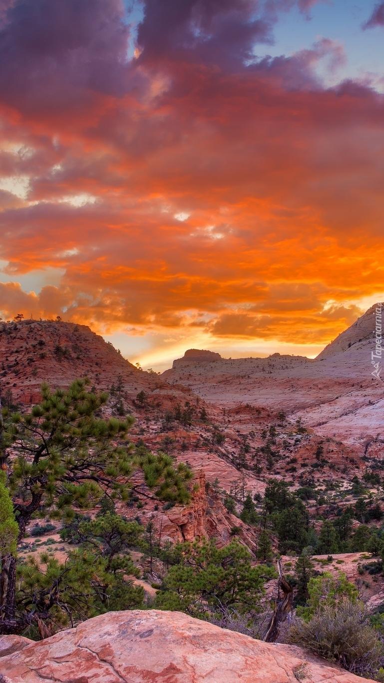 Zachód słońca nad Parkiem Narodowym Zion