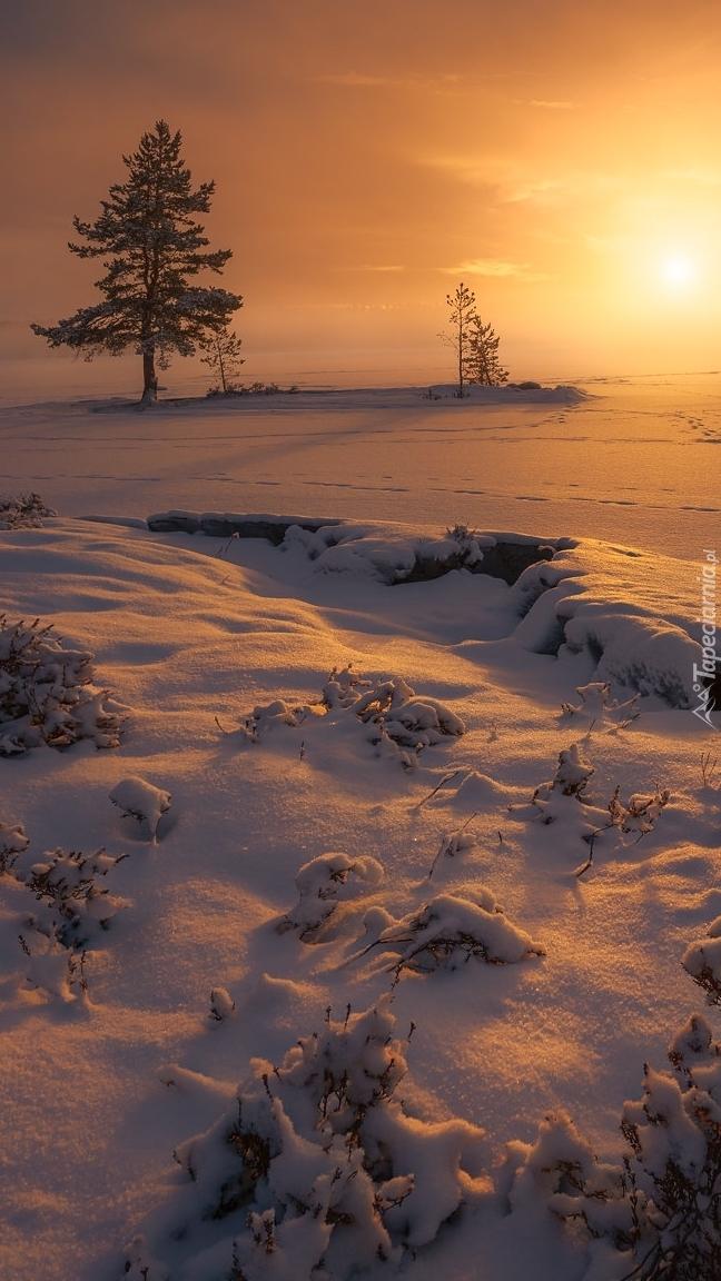 Zachód słońca nad zaśnieżonym jeziorem