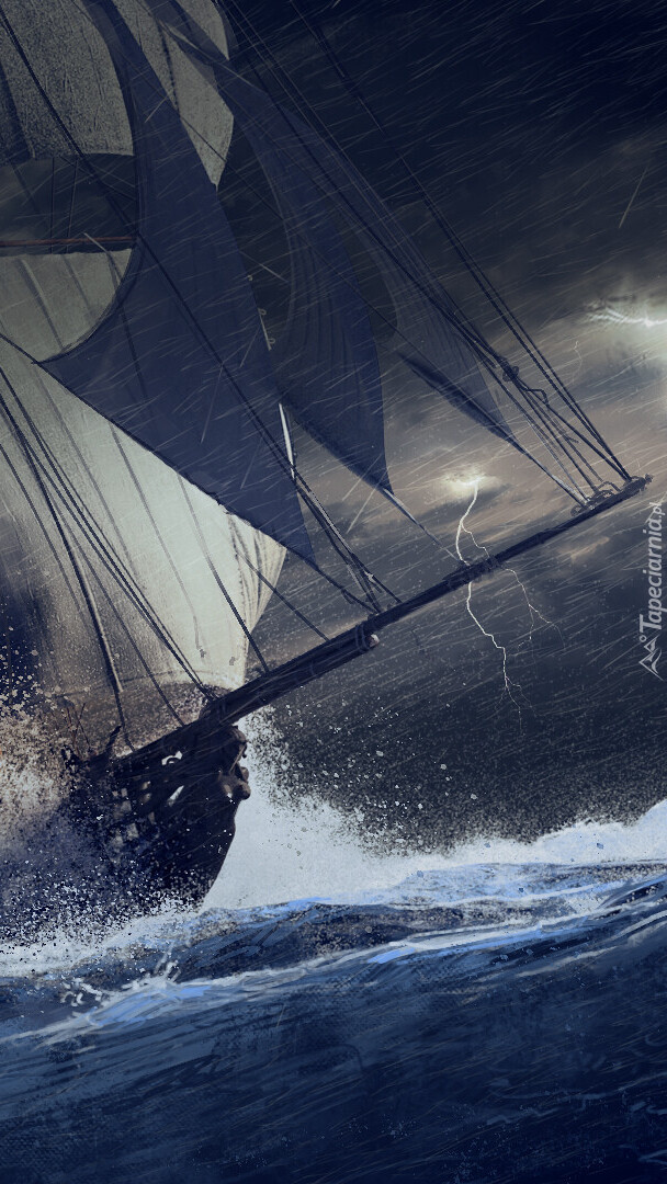 Żaglowiec podczas burzy na morzu