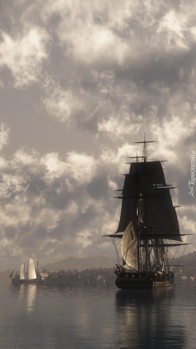 Żaglowiec zbliża się do portu