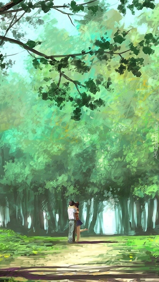 Zakochani na leśnej polanie