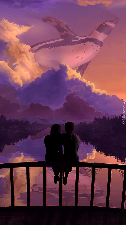 Zakochani patrzący na niebo
