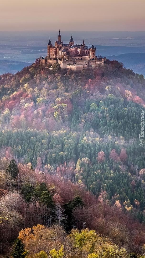 Zamek Hohenzollern na zalesionej górze