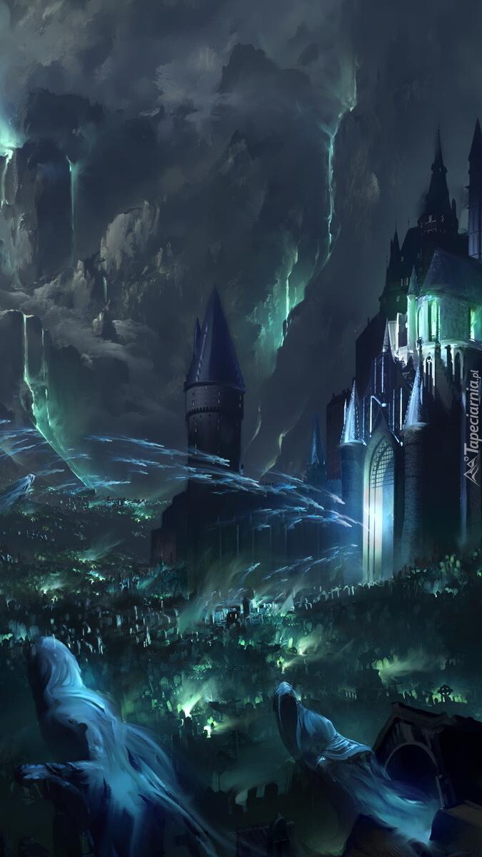 Zamek i cmentarz w grafice