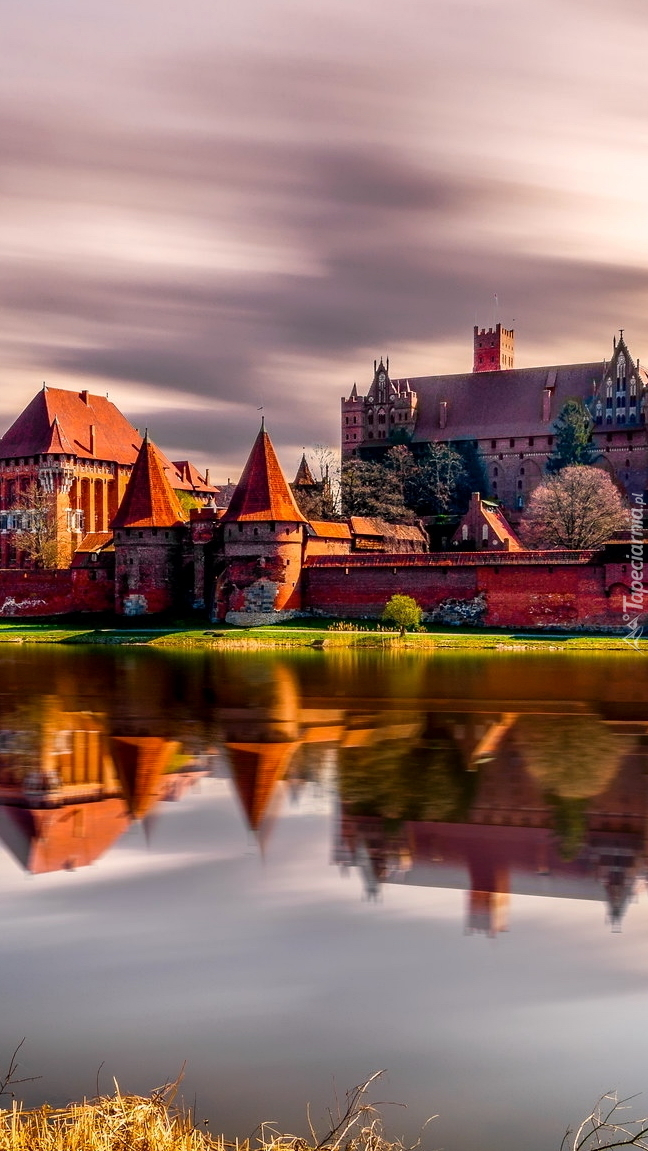 Zamek w Malborku nad rzeką Nogat
