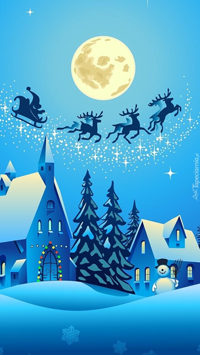 Zaprzęg Mikołaja przelatuje nad miastem nocą