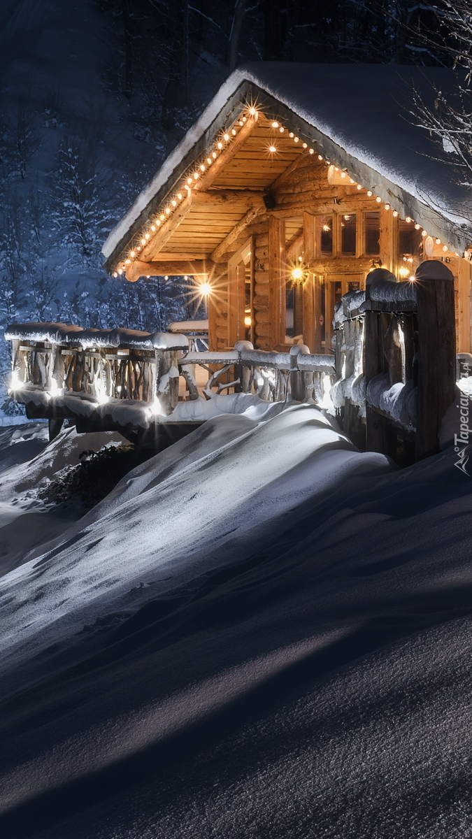 Zasypany śniegiem drewniany dom