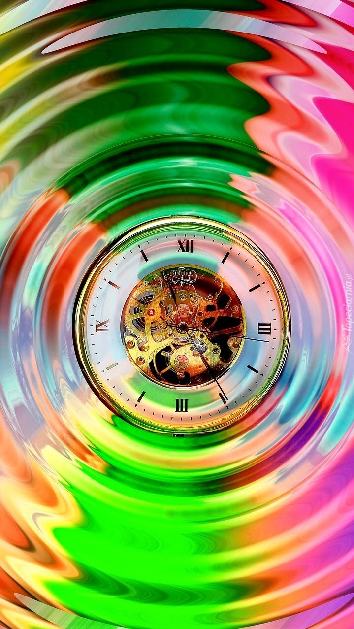 Zegar w kolorowych kręgach