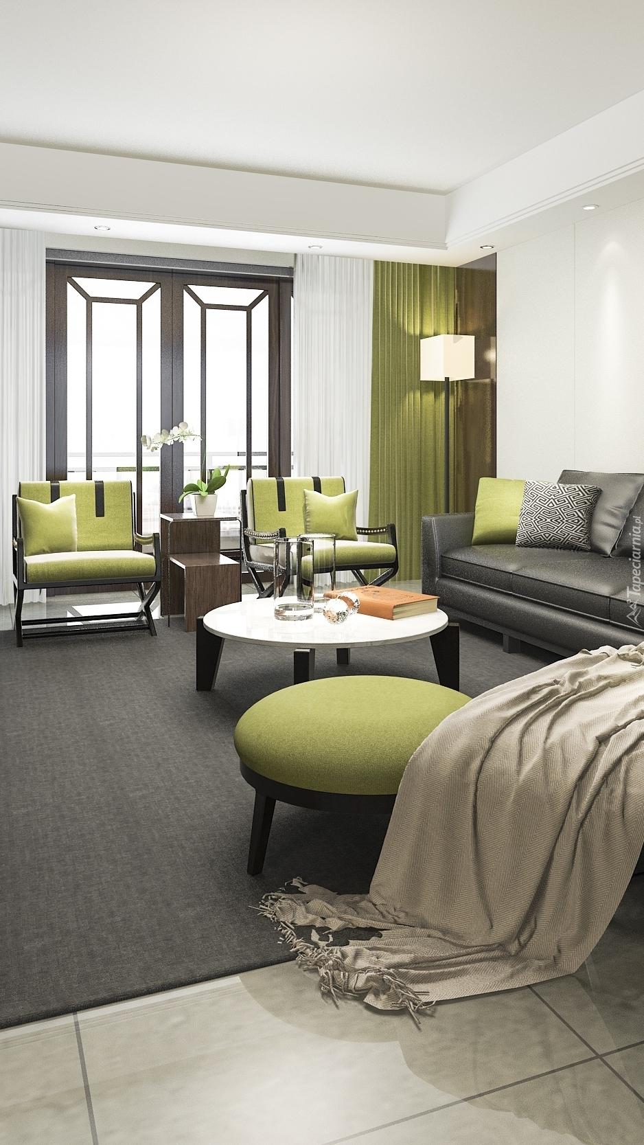 Zielone fotele w pokoju