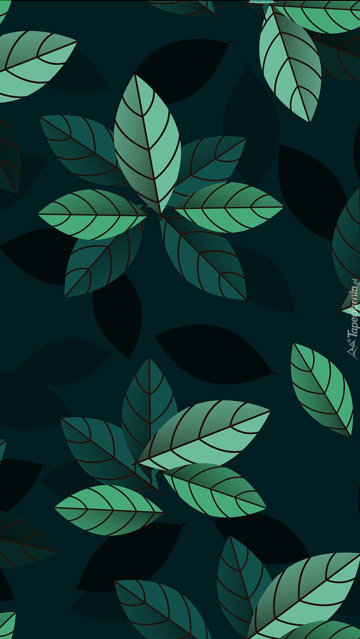 Zielone liście w grafice