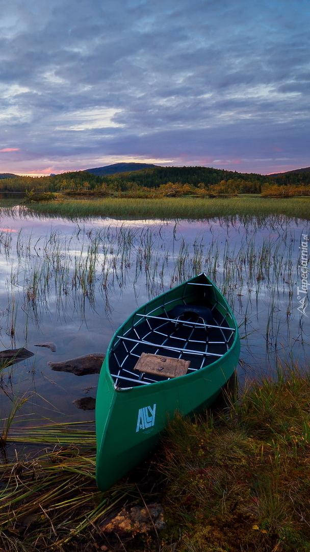 Zielony kajak na brzegu jeziora