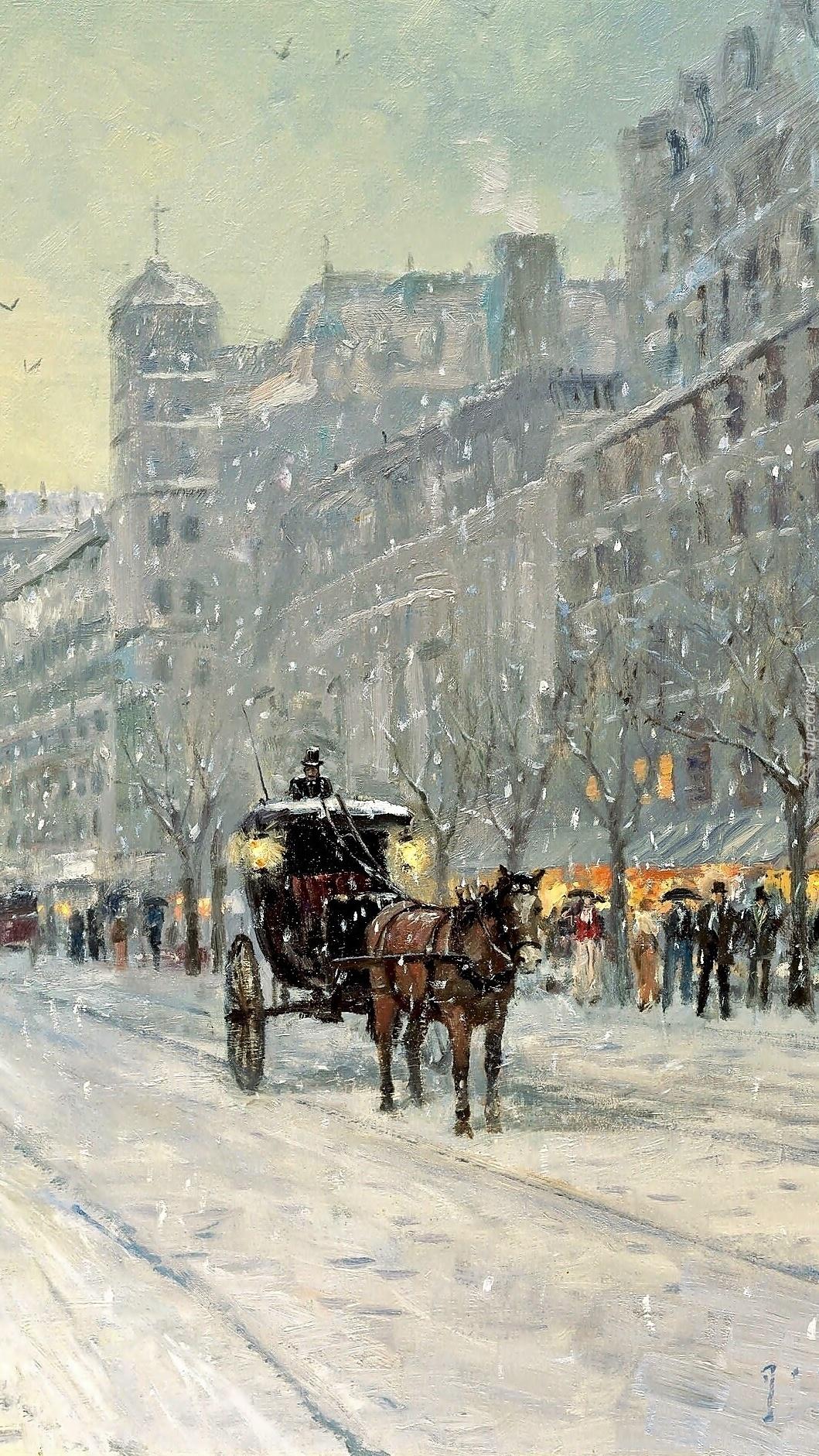 Zima w mieście na obrazie Thomasa Kinkadea
